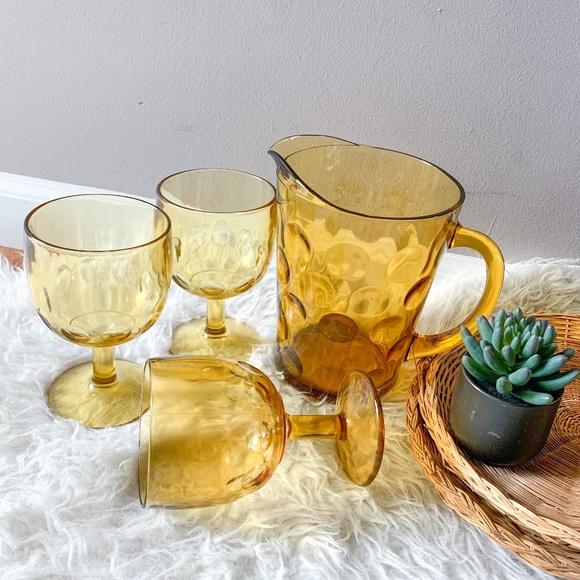 VTG Amber Glass Thumbprint Pitcher & Goblet Set